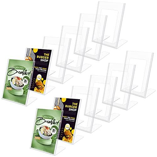 Kurtzy Porta Brochure da Tavolo A5 in Acrilico Trasparente (Confezione da 12) - Porta Menu A5 Verticale Inclinato - Porta Menu Ristorante A5, Poster, Fotografie, Bigliettini e Volantini