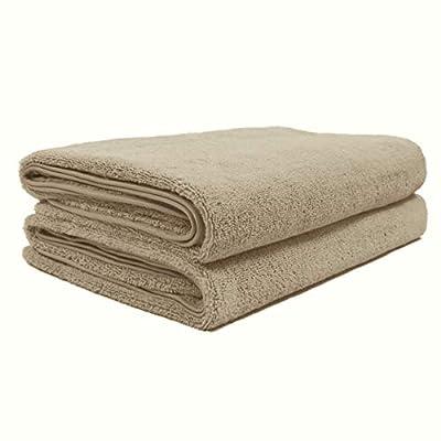 Polyte Quick Dry Lint Free Microfiber Bath Sheet, Set of 2 (Beige, 35x70)