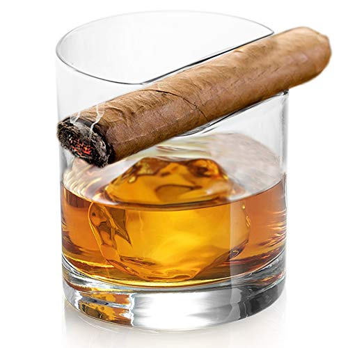 Premium Whiskey Glass - Old Fashioned Whiskey Tumbler with Top Mounted Cigar Holder - Lead Free Hand Blown Crystal
