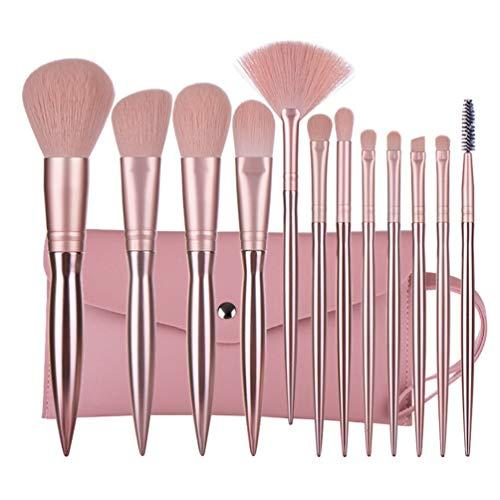 Lurrose 12 Pcs Pinceaux de Maquillage Set Pinceaux de Maquillage Fard à Paupières Set avec Sac pour Mélange de Eyeliner Fard à Paupières