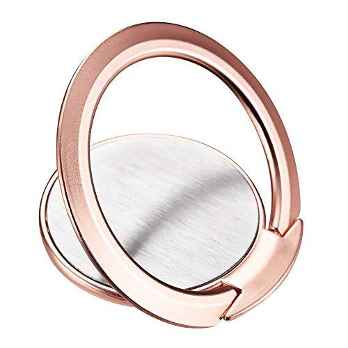 NGwenyicanI Soporte para anillo de teléfono, ultra delgado de rotación de 360 ° compatible con soporte magnético de coche para iPhone Samsung Galaxy (oro rosa)
