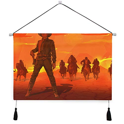 MOBEITI Cartel de Lona para Colgar en la Pared,Red Sunset Desert Thugs Western Cowboys,Kit de Pintura para decoración de Oficina en casa con póster Colgador, 17.5