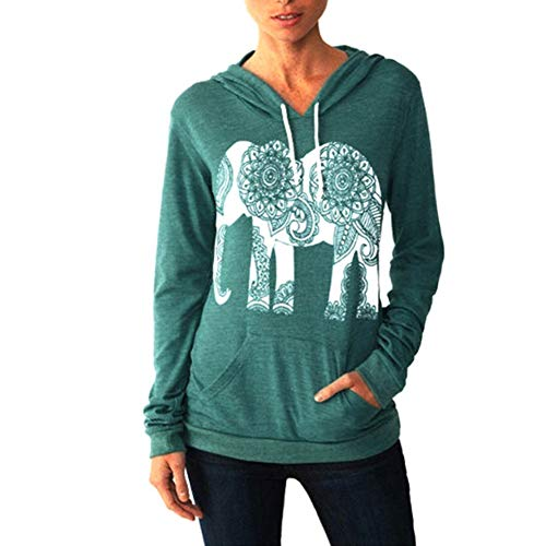 PRIMODA Women Fall Hoodies Elephant Print Long Sleeve Pullover Casual Tops with Pocket(Green,S)