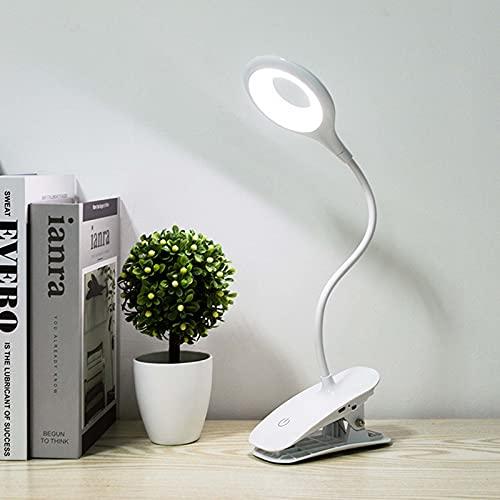 SJNSJN 3W Luz de Lectura con Clip Recargable, USB Luces LED para Libros con Interruptor Táctil, 3 Modos Temperatura Color 3 Niveles de Brillo Protección para Ojos Lámpara de Escritorio (Blanco)