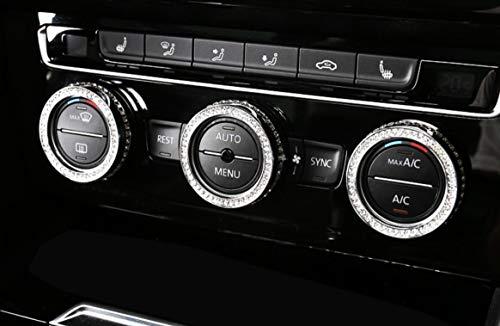 NIUHURU Car Interior Accessories Air Conditioning Knob Ring Rhinestone Decals Sticker fit for Mini F54 F55 F56 F60 Cooper Clubman Countryman 2014-2019 (Silver, Countryman 2017-2018)