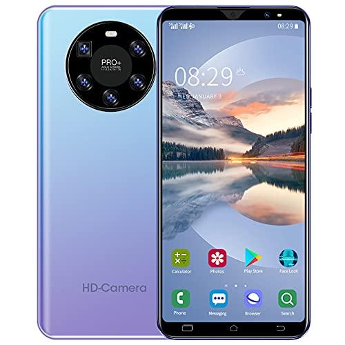 WYCF Mate 50 Teléfono Movil Smartphone 4G, Pantalla HD 6,1 Pulgadas, 6GB+128GB, Cámara 16MP+32MP, 4800mAh Batería, Dual SIM, Android 10, Face ID,Púrpura