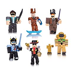 Join six famous characters from the world of Roblox and create your own imaginative adventures Mix and match parts to build your own unique Roblox character Deck out your figures with the included accessories Each package comes with a redeemable code...