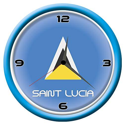 Typolitografie Ghisleri Wanduhr Saint Lucia mit Flagge Durchmesser 28 cm