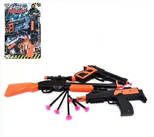 Kit 3x1 Escopeta Pistola Metralhadora Lança Dardo Polícia