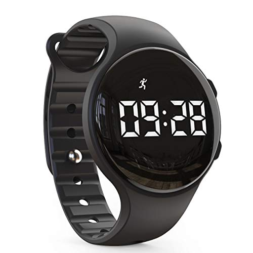 synwee Kids Led Pedometer Watch, Digital Steps Tracker, Non-Bluetooth, Vibrating Alarm Clock, Stopwatch, Great Gift for Children Teens Girls Boys (Black)