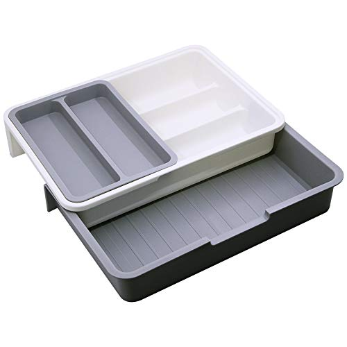 Flytianmy 3Pcs Expandable Cutlery Tray Adjustable Drawer Organiser for...