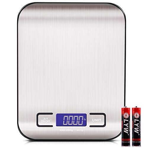 Digital Food Kitchen Scale Weight Grams and Oz LED Backlit Display AAA Battery Stainless Steel