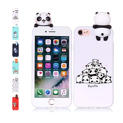 Universecase Cover iPhone 7 8, Custodia iPhone 7 8 3D Panda Squishy Kawaii Toy Animal, Silicone Case Antiurto Anti-Graffio Bumper Protettiva Caso