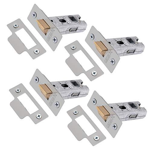 XFORT Paquete de 4 picaportes tubulares de 65 mm en cromo satinado, CE e ignífugos para el cierre de puertas interiores para su uso con manillas y pomos de embutir en puertas interiores de madera.
