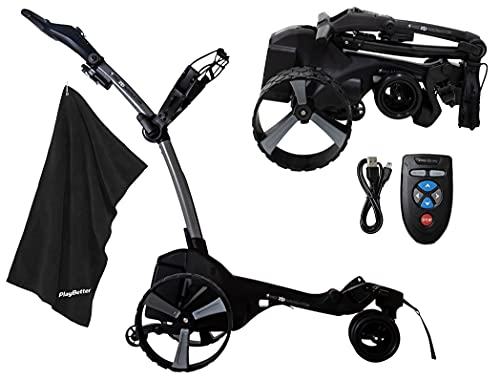 MGI Zip Navigator Electric Golf Caddy Bundle | with PlayBetter Premium Caddy Towel | Motorized Electric Golf Cart Caddy | Full Directional Remote Control, Gyroscope Straight Tracker | Titanium Gray