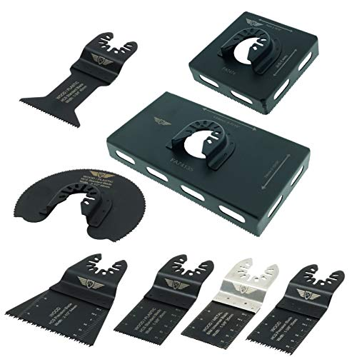 8 x TopsTools FABCK1 Socket Back Box Cutters Kit voor Dewalt Stanley Zwart en Decker Bosch Fein (Non-StarLock) Makita Milwaukee Hitachi Parkside Ryobi Worx Werkzone Multitool Accessoires