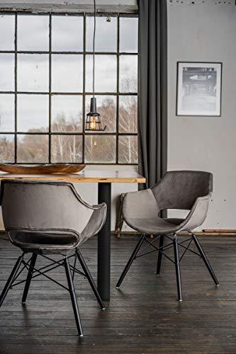 KAWOLA Essgruppe 9-Teilig mit Esstisch Baumkante Fuß schwarz 200x100cm und 8X Stuhl ZAJA Velvet grau