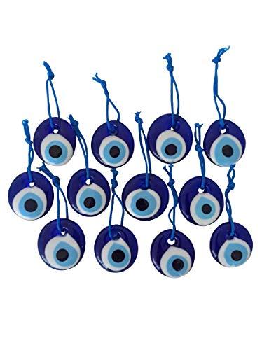 Erbulus Turkish Glass Blue Evil Eye Beads - 12pcs 1.38' (3.5cm) Bulk Pack - Evil Eye Protection Charm - Turkish Nazar Boncuk Talisman - Home Decor Amulet - Wedding Favor in a Box