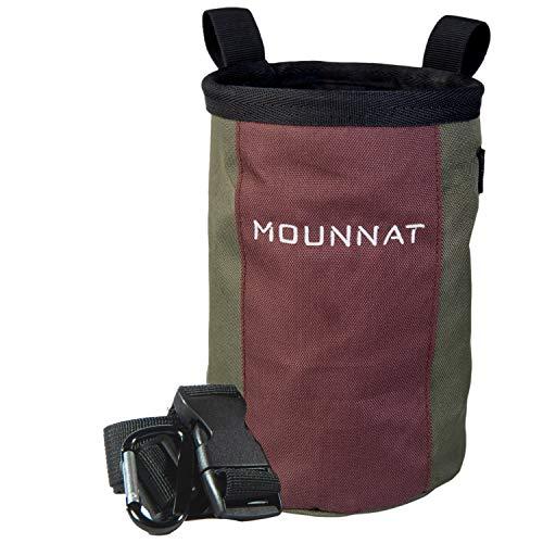 Mounnat Chalk Bag für Bouldern mit großer Öffnung selbststehend | Chalkbag Boulder mit Tasche Karabiner und Hüftgurt | Magnesiabeutel groß | Kreidebeutel Bouldern Klettern | Boulder Bag grün