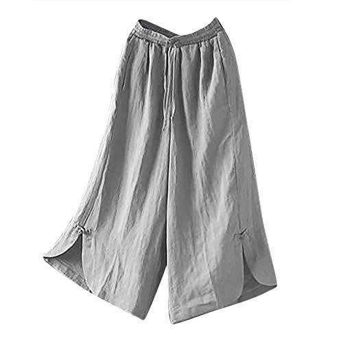 Lulupi Leinen Hose Damen 7/8 Sommerhosen Leicht mit Elastischem Bund Casual Loose Fit Trousers Größe Leinen Freizeithose