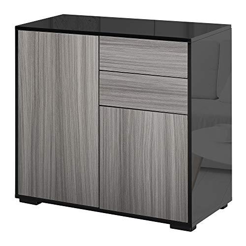 HOMCOM Hochglanz Sideboard Push Open Design mit 2 Schubladen für Wohnzimmer Schlafzimmer, Schwarz/Hellgrau, Einheitsgröße