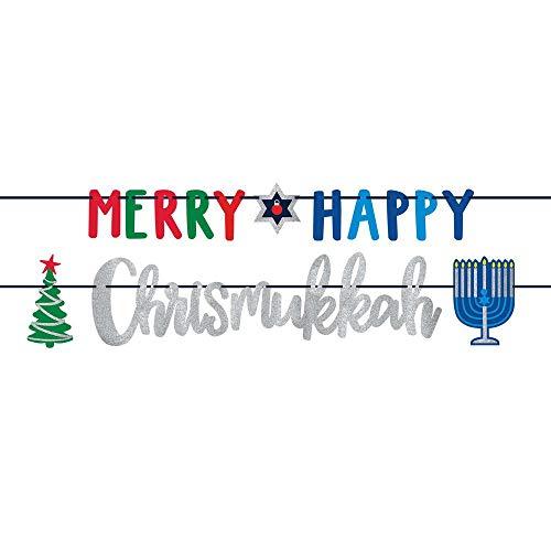 Merry Happy Chrismukkah Banner Kit Includes 2 Banners - 12 Feet Each | Hanukkah & Christmas Party Decorations