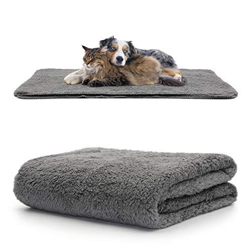 Snug tapijt huisdier dekens - pluizige Sherpa fleece deken zachte en warme honden en katten - wasbaar gooien voor auto bank bed, Medium 120 x 88cm, Grijs