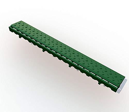 Umrandung mit Schlitzen zu Bodengitter, Balkonfliese, Rasenfliese, Bodenrost, Terrassenfliese, 405 x 61 x 18 mm, Kunststoff, ab 4 Stück (12, grün)