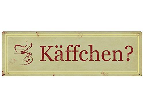 Interluxe METALLSCHILD Shabby Vintage Blechschild KÄFFCHEN? Küche Kaffee Café Deko Geschenk