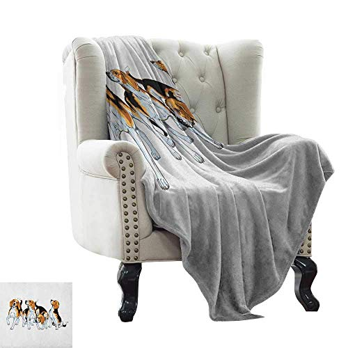 Outdoor Blanket Beagle,Four Beagle Hounds Siblings Playing Foxhound I Love My Dog Breed Theme, Brown White and Black Microfiber All Season Blanket for Bed Or Couch Multicolor 60'x78' 50' X 60'