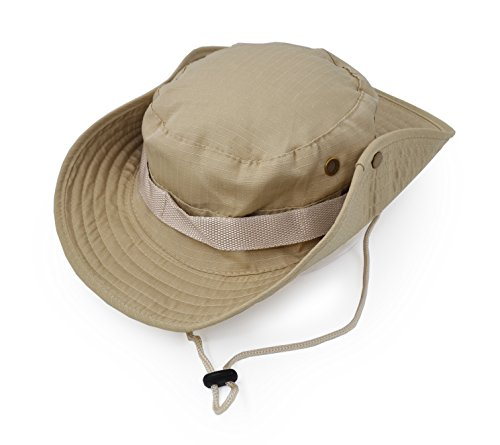 Outdoor Wide Brim Sun Protect Hat, Classic US Combat Army Style Bush Jungle Sun Cap for Fishing Hunting Camping Light Khaki 1