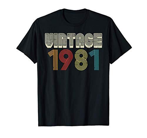 Vintage 1981 Retro Cumpleaños 40 años Papá Mamá Regalo Camiseta