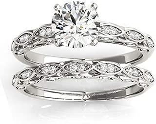 (0.33ct) Palladium Elegant Diamond Bridal Set Setting