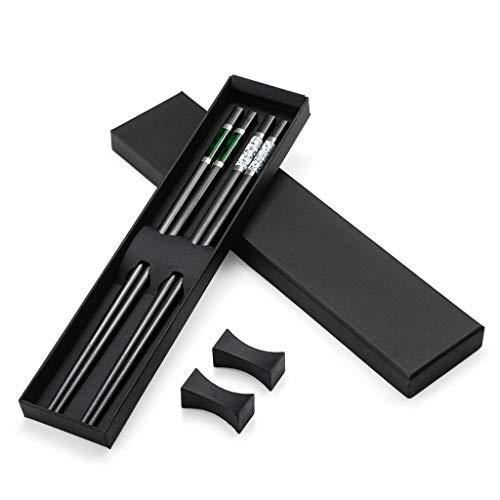 2 pares de palillos japoneses de alta calidad de Alloy color negro + 2 palillos chopsticks palillos de acero inoxidable con soporte, set de regalo de palillos chinos y cubiertos asiáticos