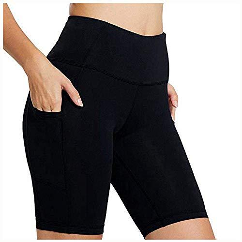 Sunenjoy Femme Bermudas D'été Yoga Leggings Sport Court Skinny Slim Fit Pantalon Shorts Occasionnels avec Poche (XL, Noir 2)