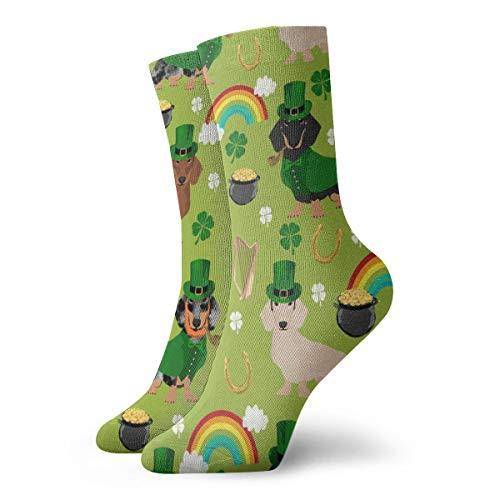 Socken damen 39-42 Doxie Leprechaun Stoff - Dackel St Patricks Day Design - Lime_1411,100prozent Baumwolle Rutschfeste für Herren Damen Einheitsgröße.