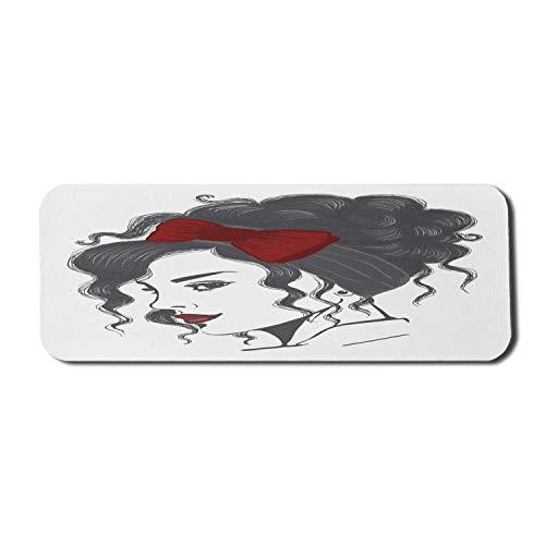 Bogen Computer Mauspad, Porträt von lockigem Haar Brünette mit Hochsteckfrisur Haarwickel Haarband und roten Lippenstift, Rechteck rutschfeste Gummi Mousepad große Rubin schwarz weiß