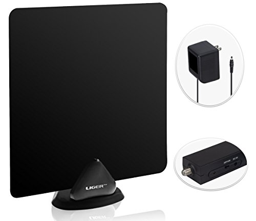 HDTV Antenna and Amplifier, Liger 50 Mile Range Ultra-Thin Indoor Antenna and Antenna Amplifier - Receive HD Television Signals for Free - Includes 10 ft Coaxial cable, Adhesive and Stand.