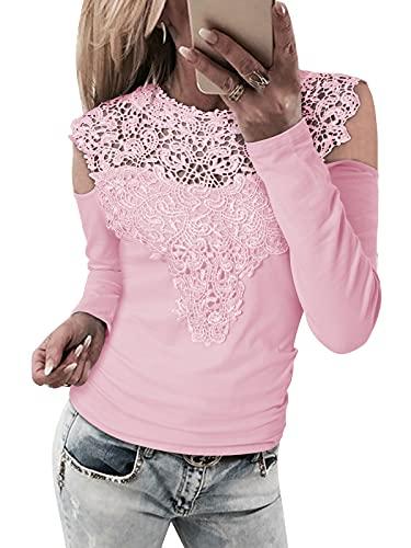 YOINS Blusa de encaje con hombros descubiertos para mujer, sexy, manga larga, cuello redondo