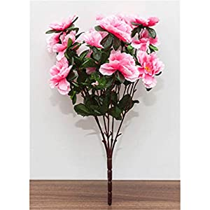 Baisheng Artificial Flowers Rhododendron simsii Planch Silk Flower Party Festival Xmas Bouquets Home Wedding Decoration(9 Bunch-Pink)