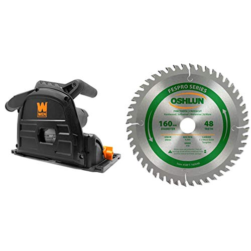 WEN 10-Amp 6.5-Inch Plunge Cut Sidewinder Circular Track Saw & Oshlun SBFT-160048 160mm 48 Tooth FesPro Crosscut ATB Saw Blade with 20mm Arbor for Festool TS 55 EQ, DeWalt DWS520, and Makita SP6000K