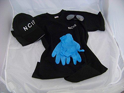 NCIS Navy CIS Cap T-Shirt XXL + Brille + Handschuhe, Kostüm , Fasching , Verkleidung