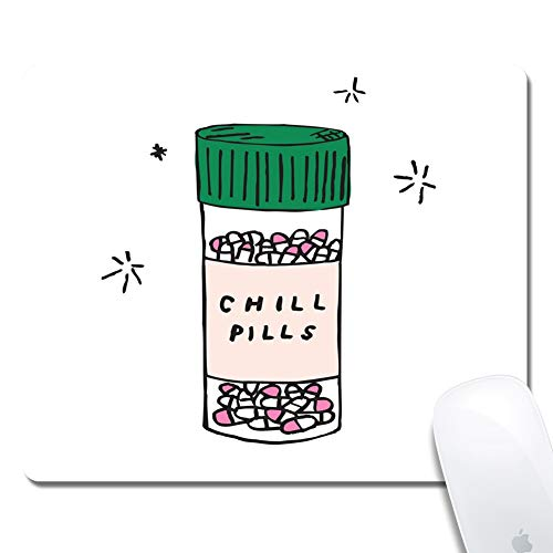 Computer Chill Pills Rectangle Mouse Pad (9.4x7.8 Inch), Printed Rubber Desk Accessories Mouse Mat