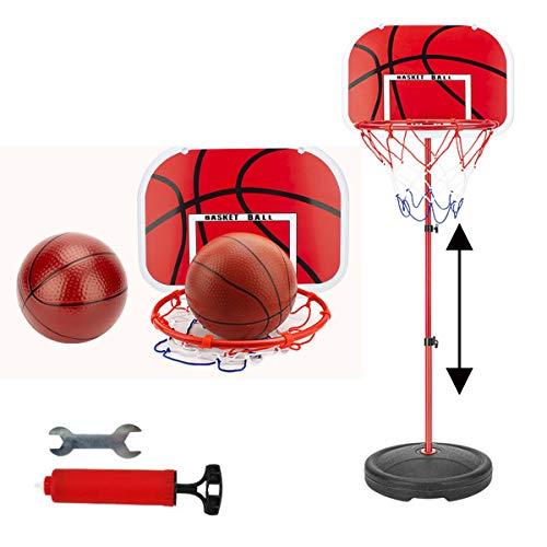Juego de soporte de baloncesto para niños, miniaro de baloncesto para dormitorio, altura ajustable, juego de aros, 1,5 m con bomba de aire, 2 bolas, adecuado para niños de 1 a 3 años