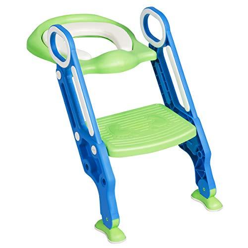 DREAMADE Kinder Töpfchentrainer Toilettensitz mit Treppe, Kinder Toilettentrainer Lerntöpfchen Sitz mit Leiter, rutschfeste Trainingstoilette Kindertoilette mit 2 Armlehnen für Baby klein Kind (Blau)