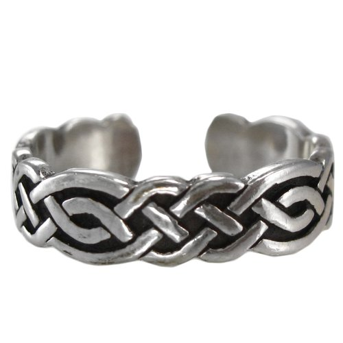 Sterling Silver Celtic Knot Weave Toe or Pinky Ring Body Jewelry