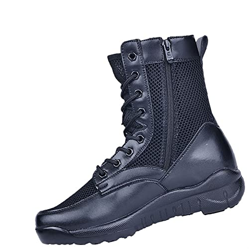 PJTL Summer Men's and Women's Mesh Breathable Outdoor High Top Mountaineering Boots Zipper2 (Color : Combat Boots 550g, Shoe Size : 40)