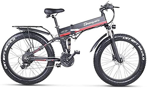 Sheng Milo Beach Bicicleta eléctrica 26 Pulgadas 1000W Crucero Todoterreno Carreras de montaña 21 velocidades 4.0 neumático Gordo Moto de Nieve Doble Amortiguador (Rojo)