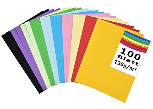 100 Blatt buntes DIN-A4 Ton-Papier, Ton-Zeichen-Papiere bunt, Set aus 10 Farben, bunte Blätter in 130g/m², Bastel-Bogen farbig, Zubehör zum Basteln, farbiges Material, DIY-Bedarf