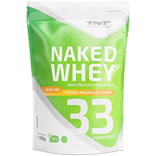 TNT Naked Whey + Laktase – 1kg Whey Protein Konzentrat – Eiweißpulver mit toller Löslichkeit & Geschmack – Proteinpulver (Pfirsich-Maracuja)